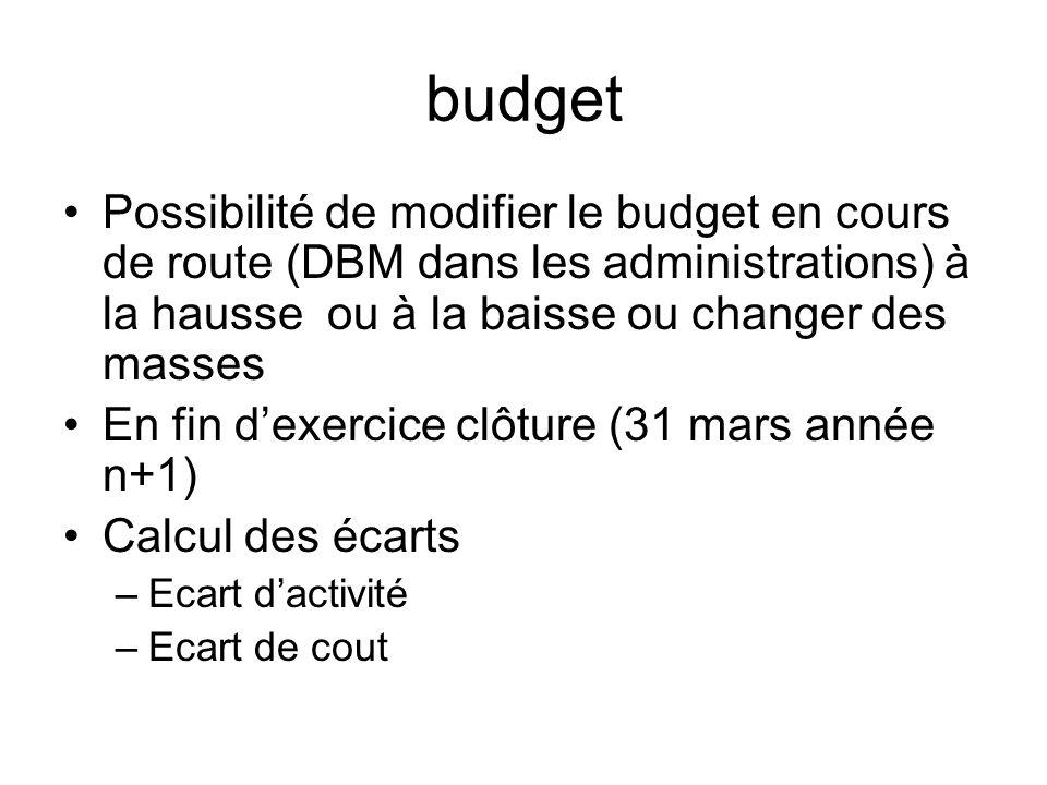 budget Possibilité de modifier le budget en cours de route (DBM dans les administrations) à la hausse ou à la baisse ou changer des masses En fin dexe