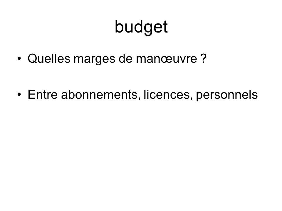 budget Quelles marges de manœuvre ? Entre abonnements, licences, personnels