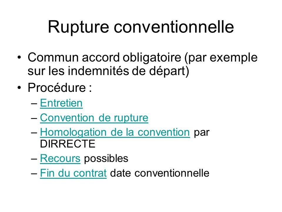 Rupture conventionnelle Commun accord obligatoire (par exemple sur les indemnités de départ) Procédure : –EntretienEntretien –Convention de ruptureCon