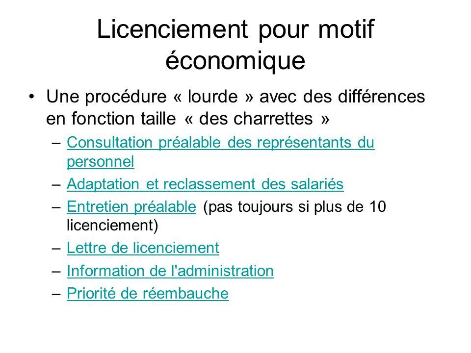 Licenciement pour motif économique Une procédure « lourde » avec des différences en fonction taille « des charrettes » –Consultation préalable des rep