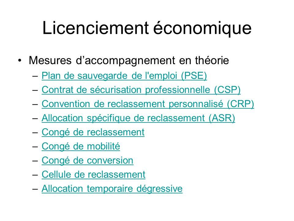 Licenciement économique Mesures daccompagnement en théorie –Plan de sauvegarde de l'emploi (PSE)Plan de sauvegarde de l'emploi (PSE) –Contrat de sécur
