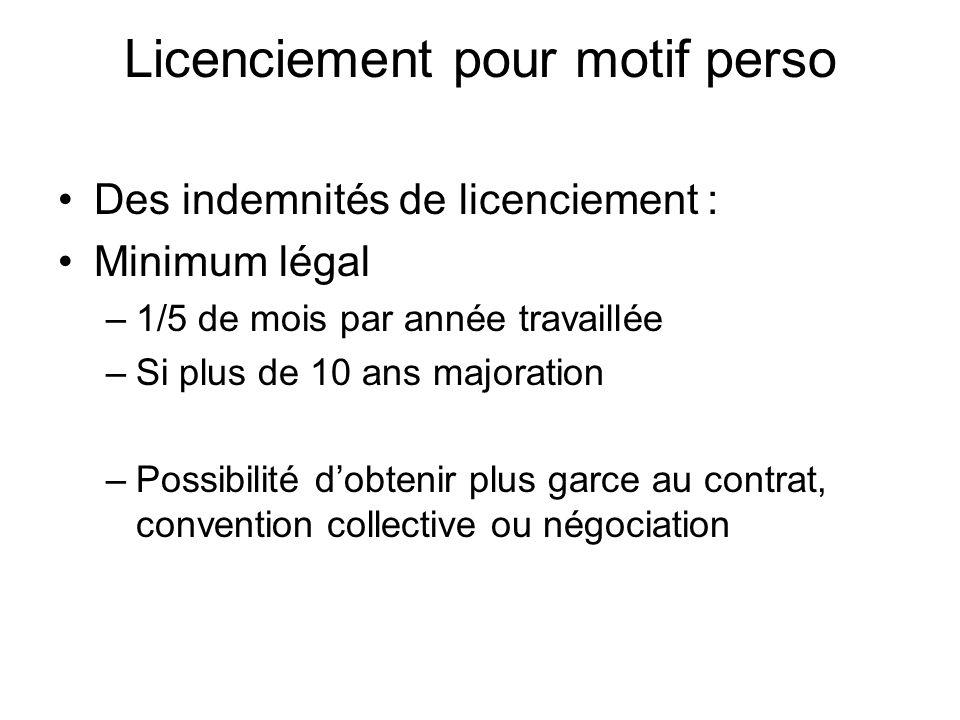 Licenciement pour motif perso Des indemnités de licenciement : Minimum légal –1/5 de mois par année travaillée –Si plus de 10 ans majoration –Possibil