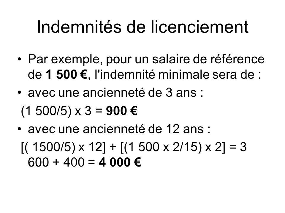 Indemnités de licenciement Par exemple, pour un salaire de référence de 1 500, l'indemnité minimale sera de : avec une ancienneté de 3 ans : (1 500/5)