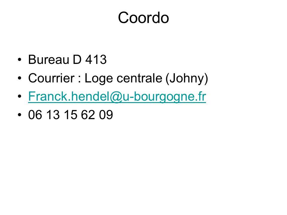 Coordo Bureau D 413 Courrier : Loge centrale (Johny) Franck.hendel@u-bourgogne.fr 06 13 15 62 09