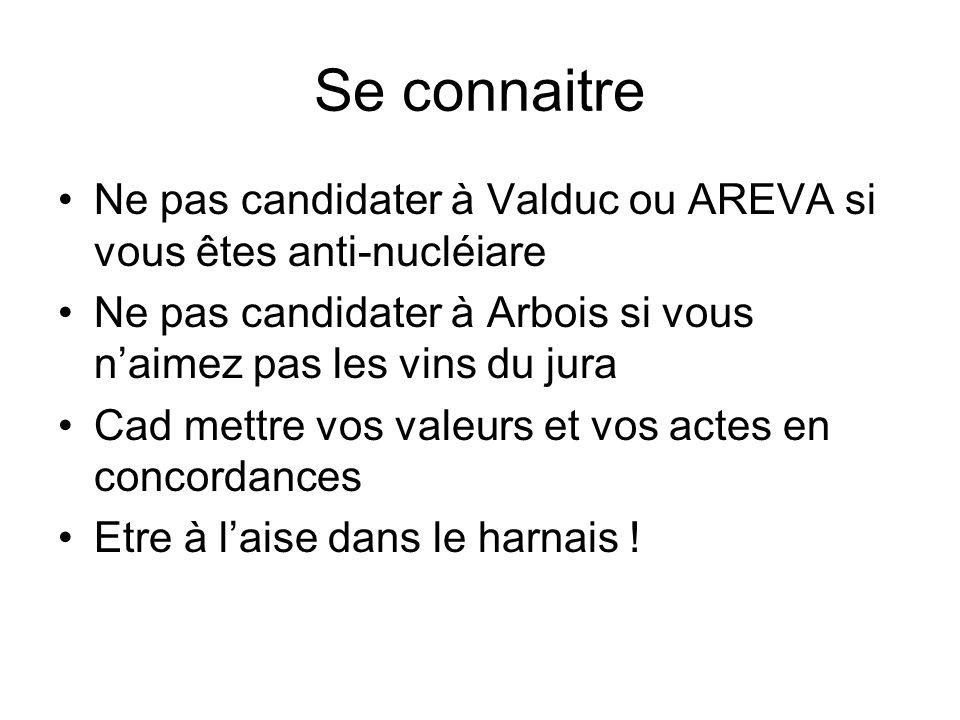 Se connaitre Ne pas candidater à Valduc ou AREVA si vous êtes anti-nucléiare Ne pas candidater à Arbois si vous naimez pas les vins du jura Cad mettre