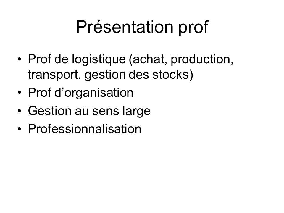 Présentation prof Prof de logistique (achat, production, transport, gestion des stocks) Prof dorganisation Gestion au sens large Professionnalisation