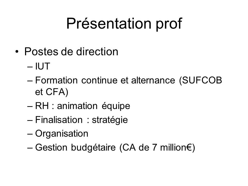 Présentation prof Postes de direction –IUT –Formation continue et alternance (SUFCOB et CFA) –RH : animation équipe –Finalisation : stratégie –Organis