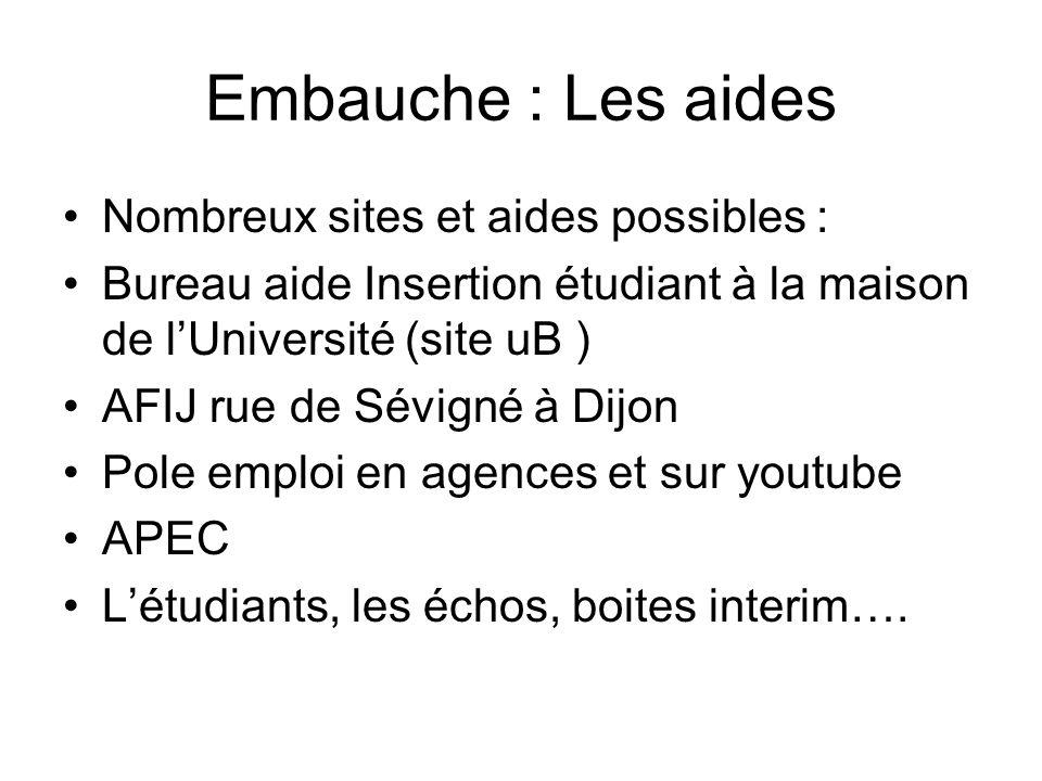 Embauche : Les aides Nombreux sites et aides possibles : Bureau aide Insertion étudiant à la maison de lUniversité (site uB ) AFIJ rue de Sévigné à Di