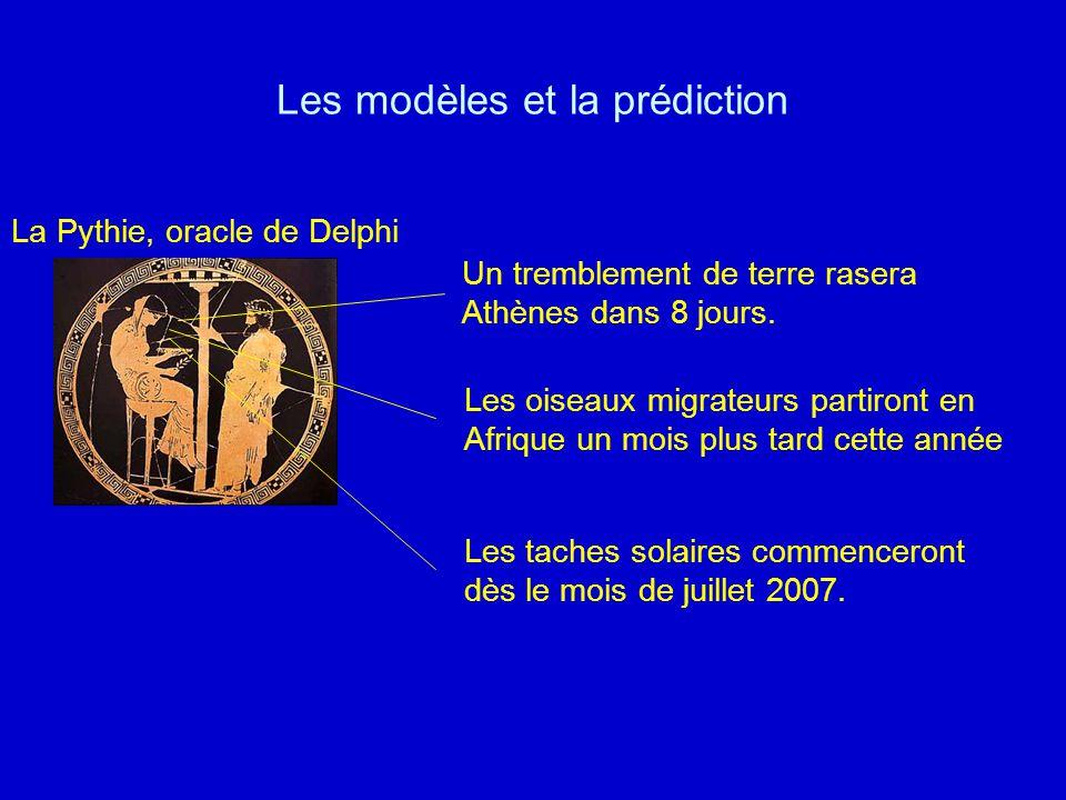 Les modèles et la prédiction La Pythie, oracle de Delphi Un tremblement de terre rasera Athènes dans 8 jours. Les oiseaux migrateurs partiront en Afri