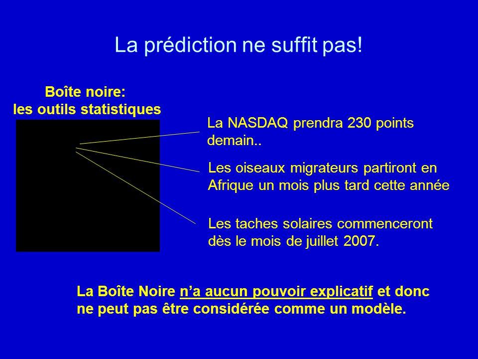 La prédiction ne suffit pas! Boîte noire: les outils statistiques La NASDAQ prendra 230 points demain.. Les oiseaux migrateurs partiront en Afrique un