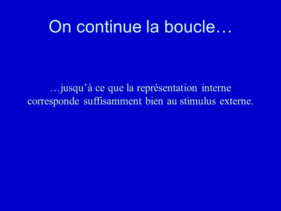 On continue la boucle… …jusquà ce que la représentation interne corresponde suffisamment bien au stimulus externe.
