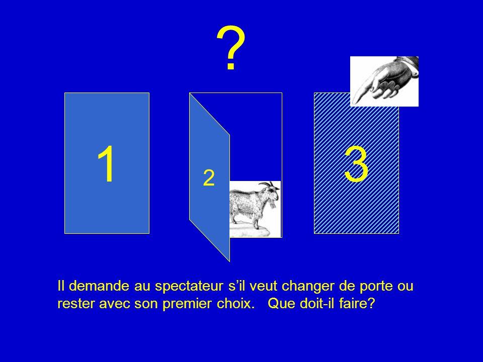 31 Il demande au spectateur sil veut changer de porte ou rester avec son premier choix. Que doit-il faire? 2 ?