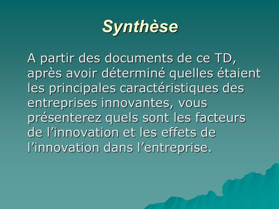 Synthèse A partir des documents de ce TD, après avoir déterminé quelles étaient les principales caractéristiques des entreprises innovantes, vous prés