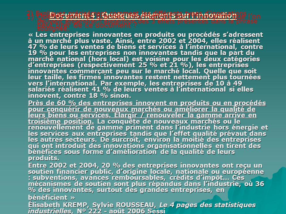 Document 4 : Quelques éléments sur linnovation « Les entreprises innovantes en produits ou procédés sadressent à un marché plus vaste. Ainsi, entre 20