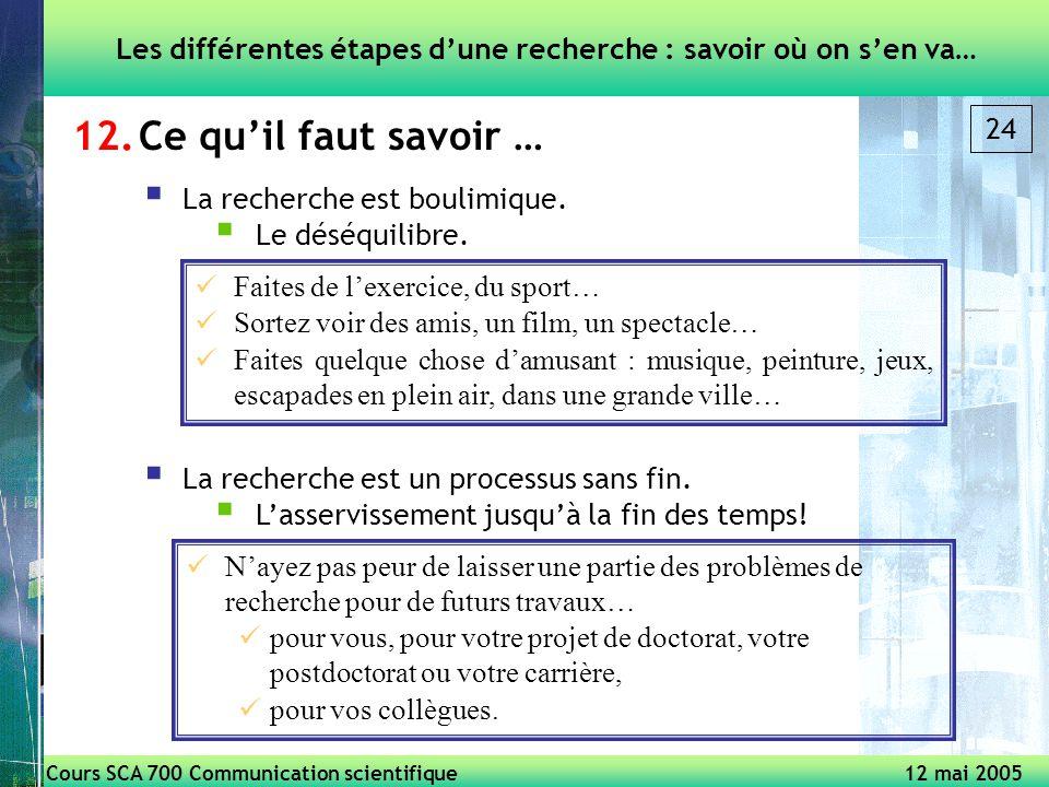 Cours SCA 700 Communication scientifique 12 mai 2005 24 12.Ce quil faut savoir … Les différentes étapes dune recherche : savoir où on sen va… La recherche est boulimique.