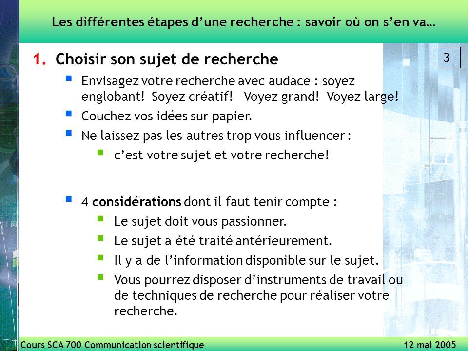 Cours SCA 700 Communication scientifique 12 mai 2005 3 1.Choisir son sujet de recherche Envisagez votre recherche avec audace : soyez englobant.
