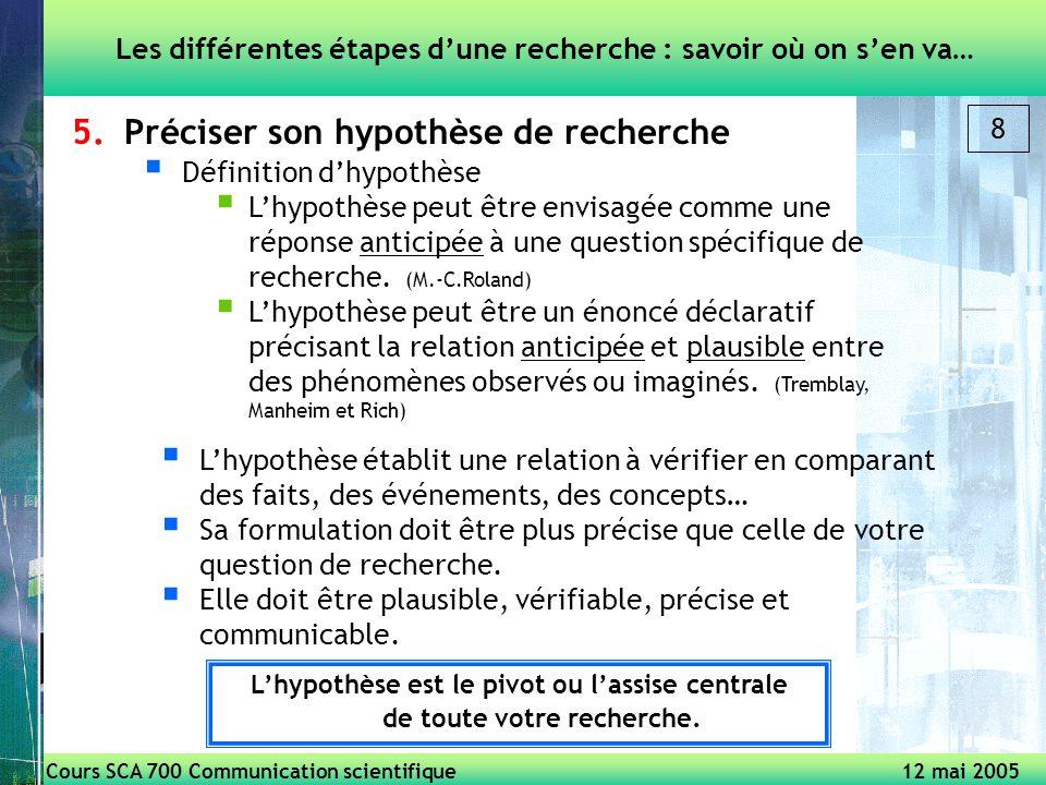 Cours SCA 700 Communication scientifique 12 mai 2005 8 5.Préciser son hypothèse de recherche Définition dhypothèse Lhypothèse peut être envisagée comme une réponse anticipée à une question spécifique de recherche.