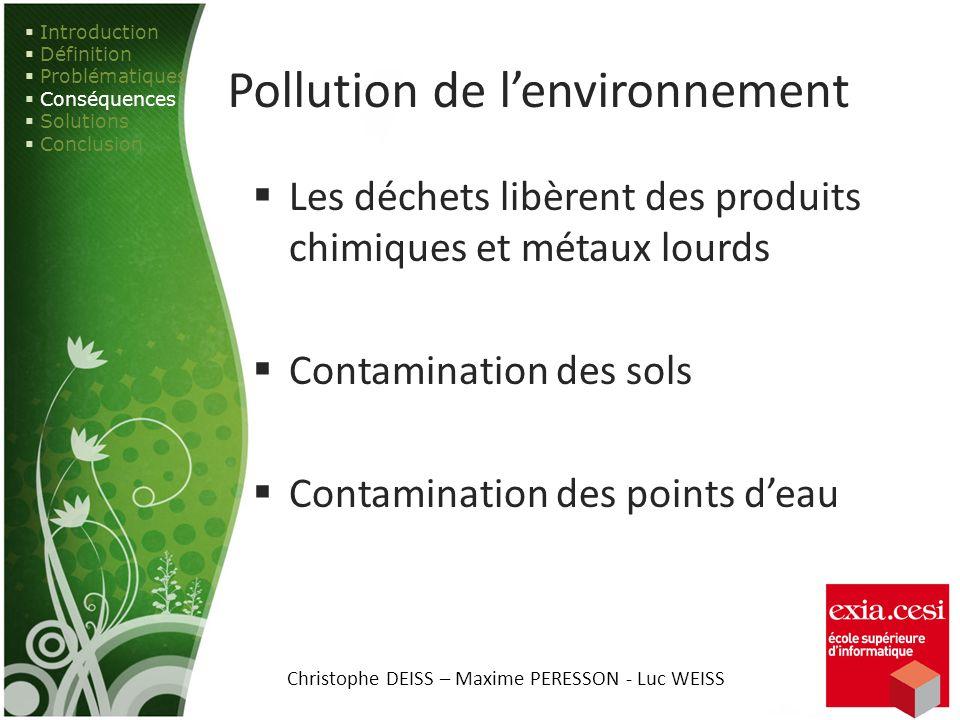 Pollution de lenvironnement Les déchets libèrent des produits chimiques et métaux lourds Contamination des sols Contamination des points deau Introduc