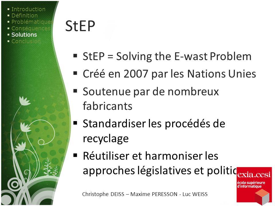 StEP StEP = Solving the E-wast Problem Créé en 2007 par les Nations Unies Soutenue par de nombreux fabricants Standardiser les procédés de recyclage R
