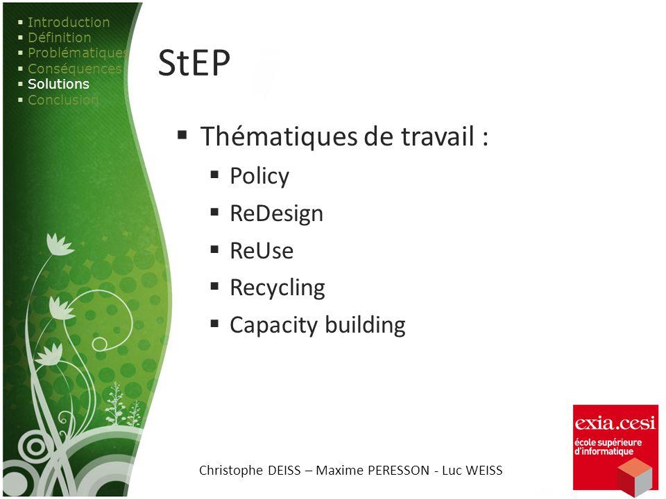StEP Thématiques de travail : Policy ReDesign ReUse Recycling Capacity building Introduction Définition Problématiques Conséquences Solutions Conclusi