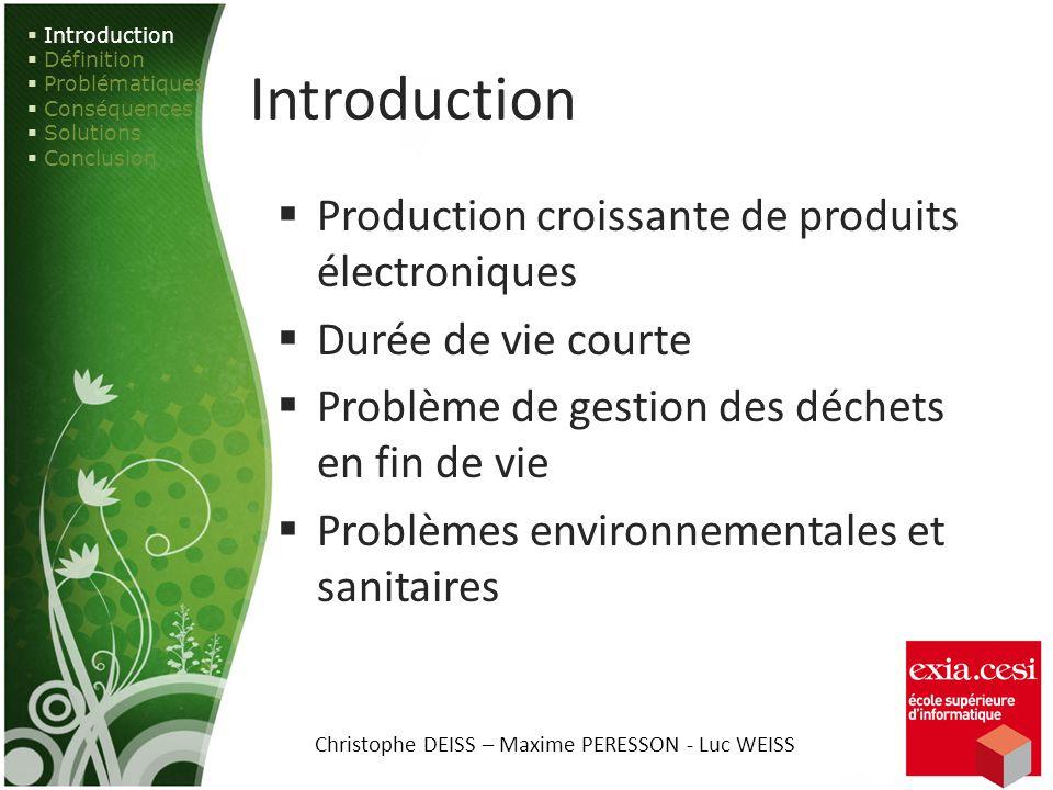 Introduction Production croissante de produits électroniques Durée de vie courte Problème de gestion des déchets en fin de vie Problèmes environnement