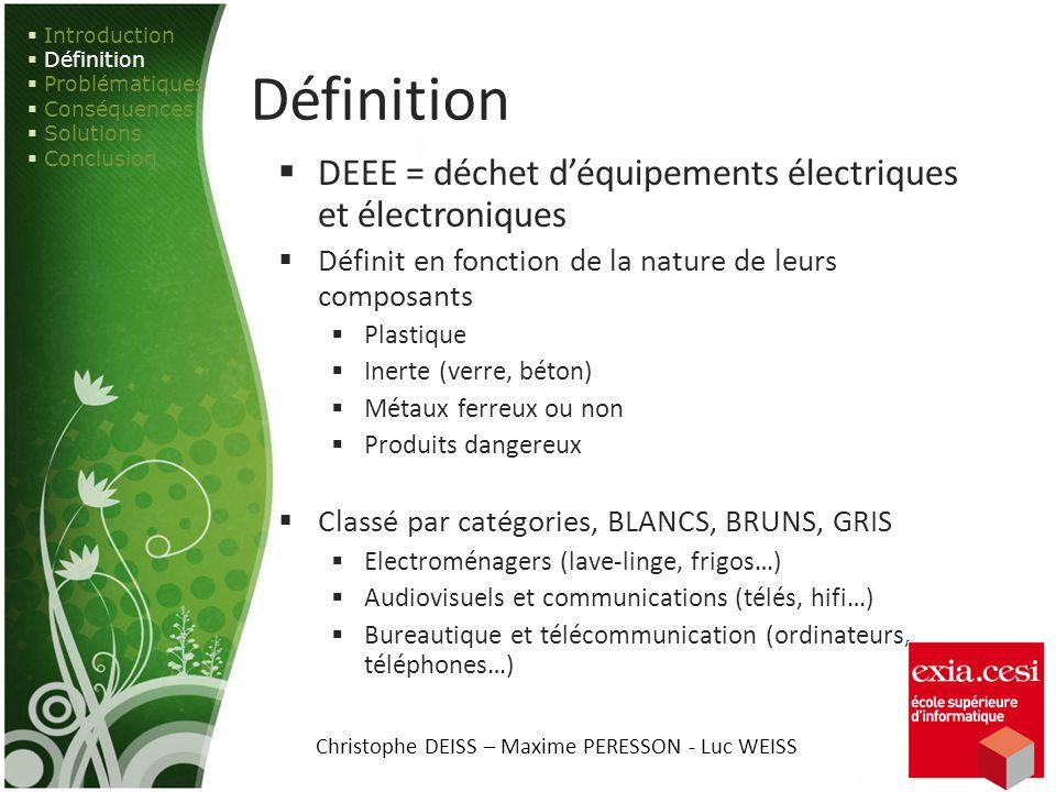 Définition DEEE = déchet déquipements électriques et électroniques Définit en fonction de la nature de leurs composants Plastique Inerte (verre, béton