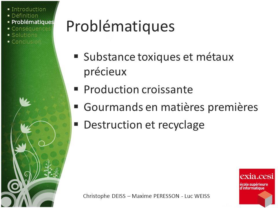Problématiques Substance toxiques et métaux précieux Production croissante Gourmands en matières premières Destruction et recyclage Introduction Défin