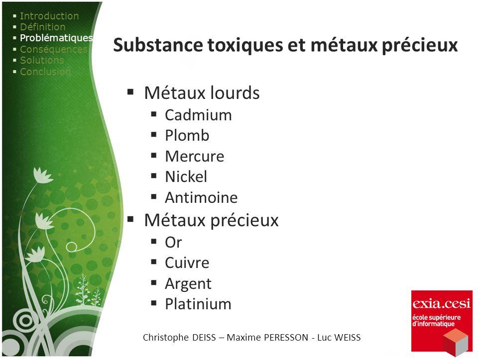 Substance toxiques et métaux précieux Métaux lourds Cadmium Plomb Mercure Nickel Antimoine Métaux précieux Or Cuivre Argent Platinium Introduction Déf
