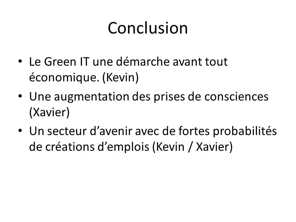 Conclusion Le Green IT une démarche avant tout économique.