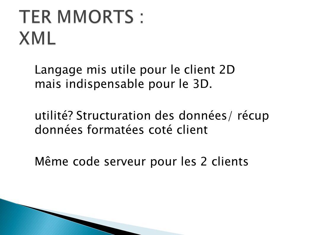 Langage mis utile pour le client 2D mais indispensable pour le 3D. utilité? Structuration des données/ récup données formatées coté client Même code s