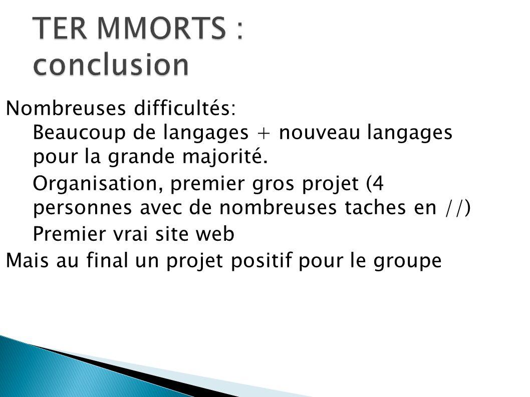 Nombreuses difficultés: Beaucoup de langages + nouveau langages pour la grande majorité. Organisation, premier gros projet (4 personnes avec de nombre