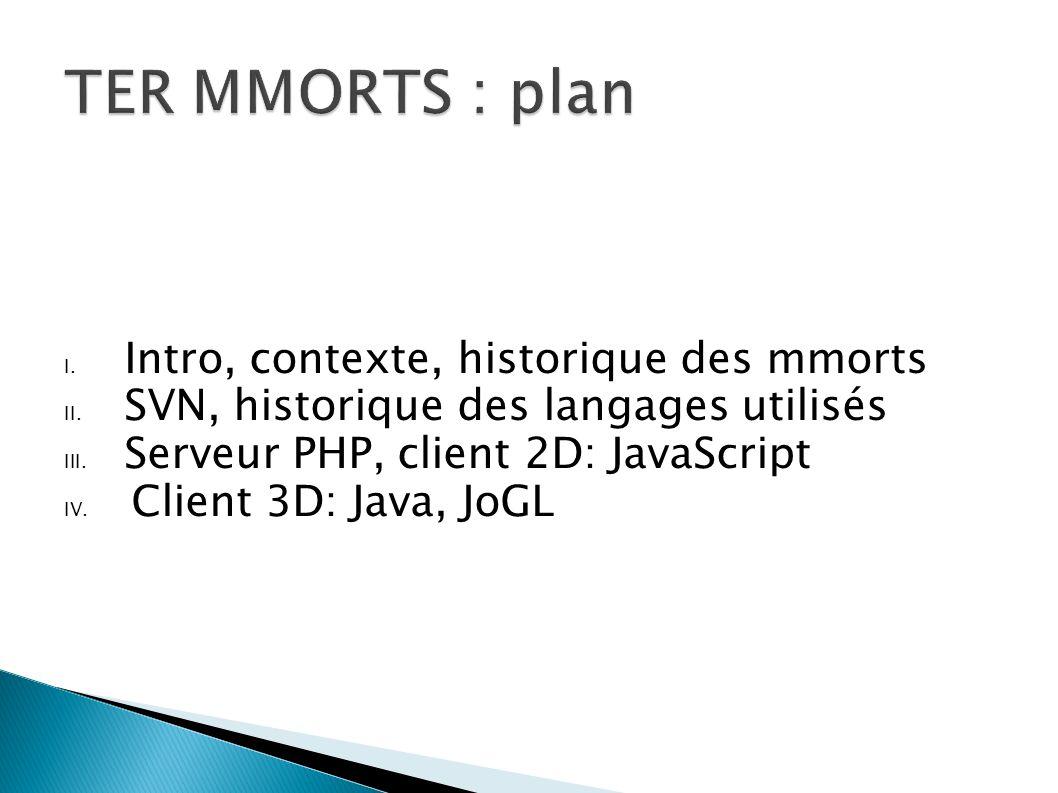 I. Intro, contexte, historique des mmorts II. SVN, historique des langages utilisés III. Serveur PHP, client 2D: JavaScript IV. Client 3D: Java, JoGL