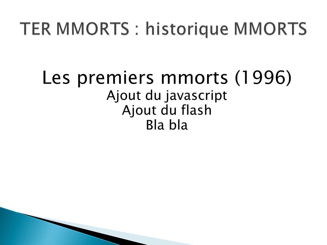 Les premiers mmorts (1996) Ajout du javascript Ajout du flash Bla bla