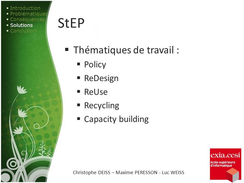 StEP Thématiques de travail : Policy ReDesign ReUse Recycling Capacity building Introduction Problématiques Conséquences Solutions Conclusion Christop