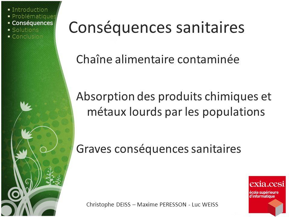 Conséquences sanitaires Chaîne alimentaire contaminée Absorption des produits chimiques et métaux lourds par les populations Graves conséquences sanit