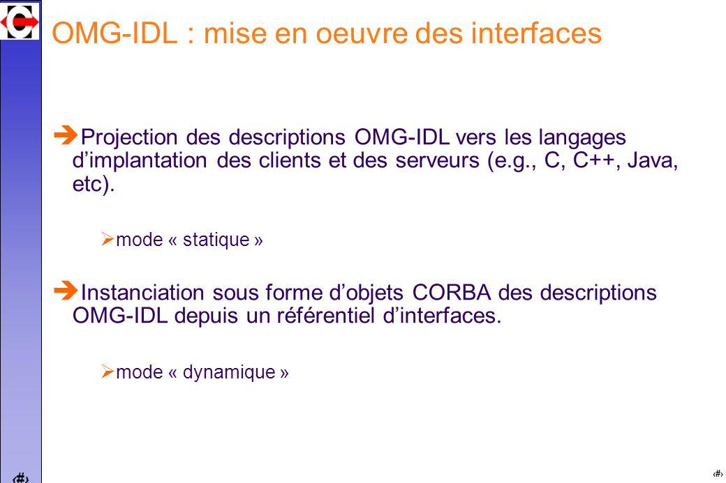 11 OMG-IDL : mise en oeuvre des interfaces Projection des descriptions OMG-IDL vers les langages dimplantation des clients et des serveurs (e.g., C, C++, Java, etc).