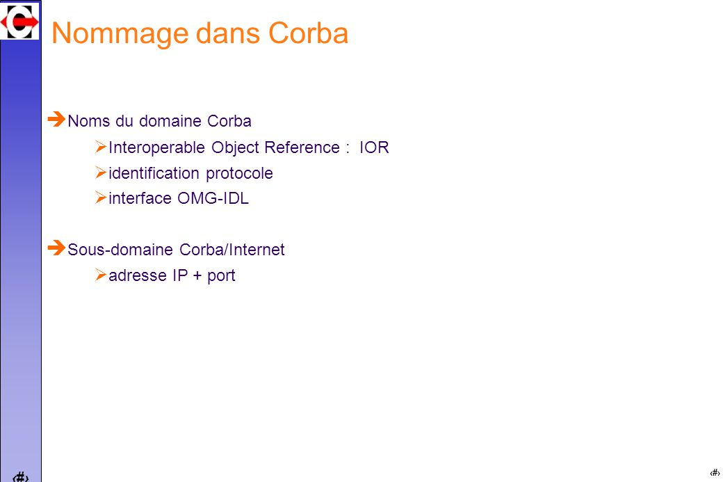 15 Nommage dans Corba Noms du domaine Corba Interoperable Object Reference : IOR identification protocole interface OMG-IDL Sous-domaine Corba/Internet adresse IP + port