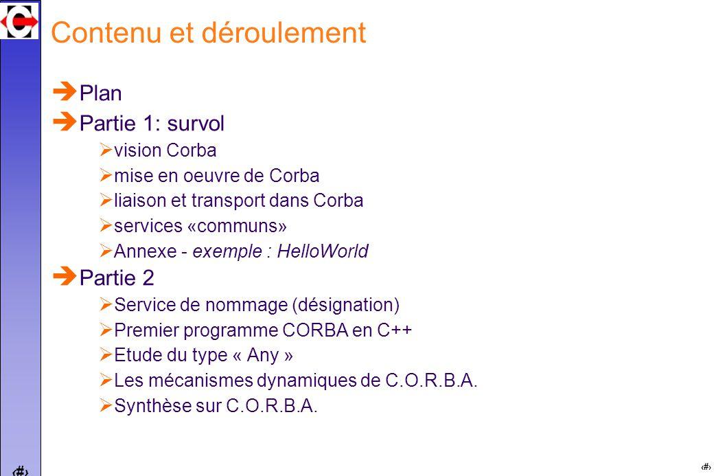 2 2 Contenu et déroulement Plan Partie 1: survol vision Corba mise en oeuvre de Corba liaison et transport dans Corba services «communs» Annexe - exemple : HelloWorld Partie 2 Service de nommage (désignation) Premier programme CORBA en C++ Etude du type « Any » Les mécanismes dynamiques de C.O.R.B.A.
