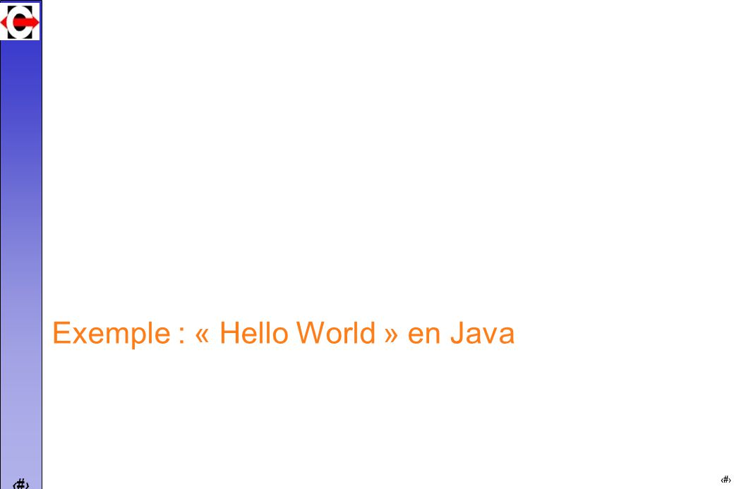 20 Exemple : « Hello World » en Java