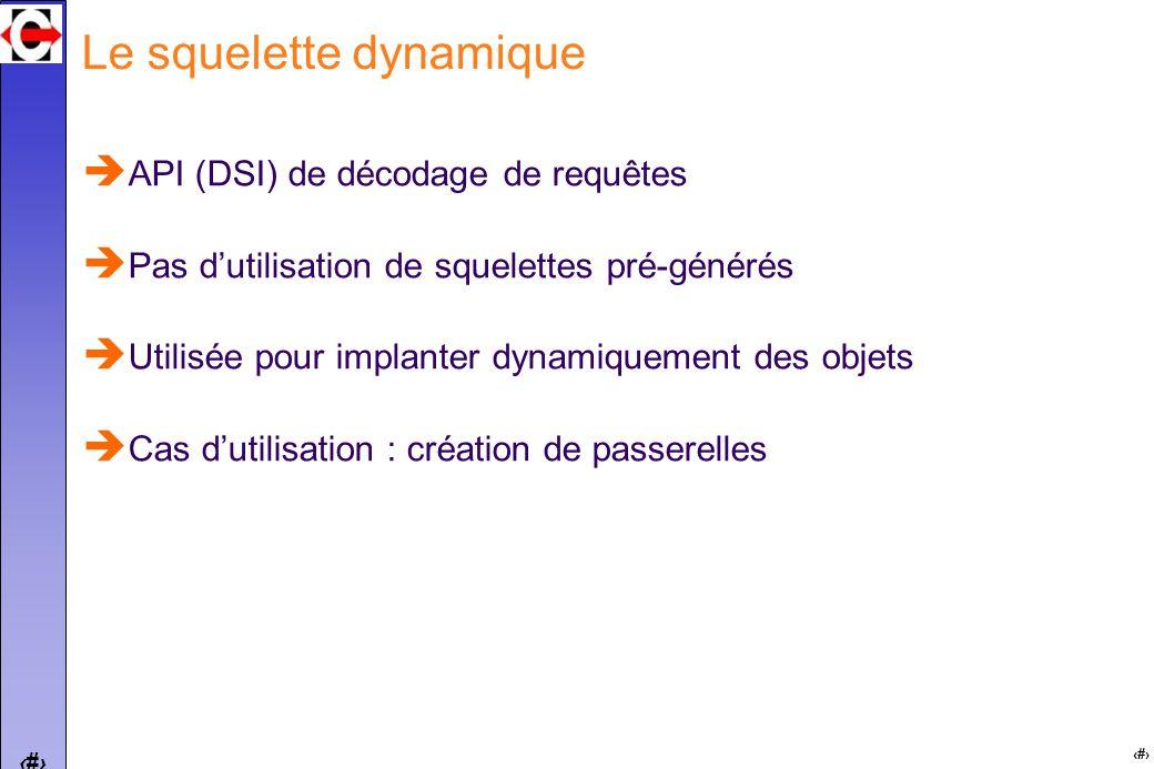 28 Le squelette dynamique API (DSI) de décodage de requêtes Pas dutilisation de squelettes pré-générés Utilisée pour implanter dynamiquement des objets Cas dutilisation : création de passerelles