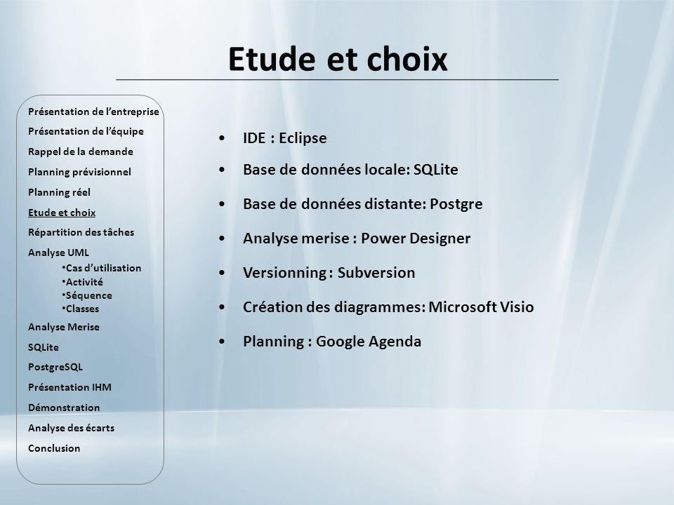 Etude et choix IDE : Eclipse Base de données locale: SQLite Base de données distante: Postgre Analyse merise : Power Designer Versionning : Subversion