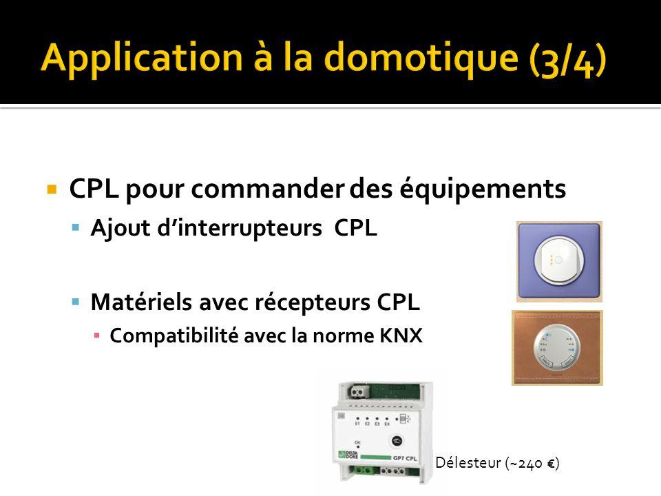 CPL pour commander des équipements Ajout dinterrupteurs CPL Matériels avec récepteurs CPL Compatibilité avec la norme KNX Délesteur (~240 )