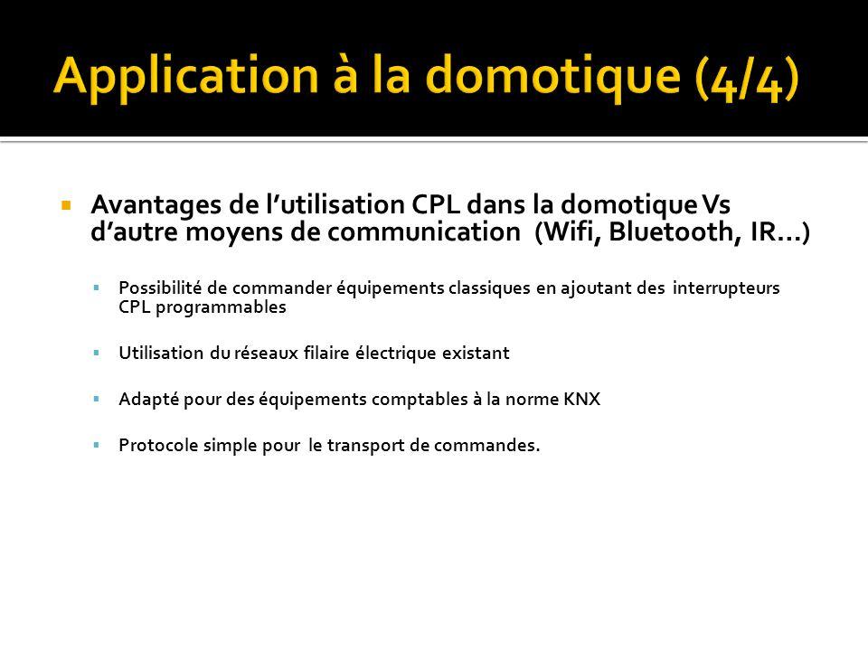 Avantages de lutilisation CPL dans la domotique Vs dautre moyens de communication (Wifi, Bluetooth, IR…) Possibilité de commander équipements classiqu