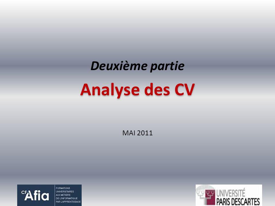 Deuxième partie Analyse des CV MAI 2011