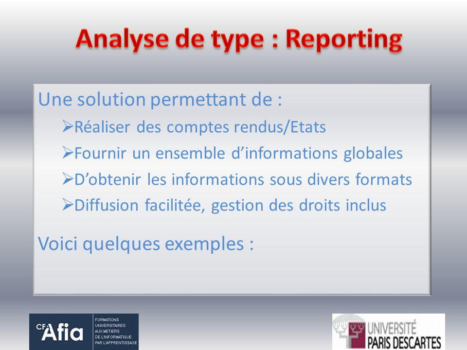 Une solution permettant de : Réaliser des comptes rendus/Etats Fournir un ensemble dinformations globales Dobtenir les informations sous divers format