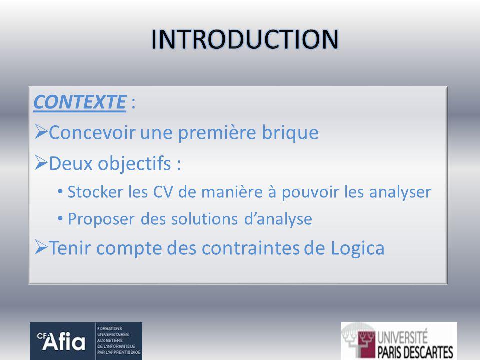 CONTEXTE : Concevoir une première brique Deux objectifs : Stocker les CV de manière à pouvoir les analyser Proposer des solutions danalyse Tenir compt