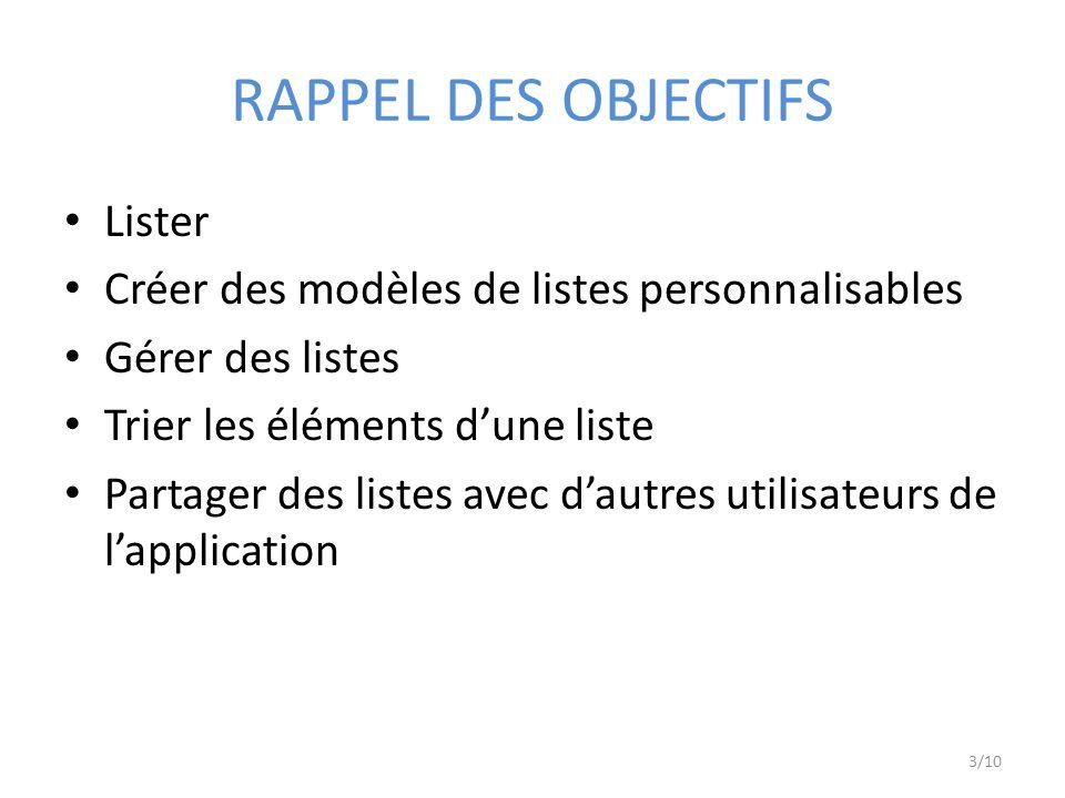 RAPPEL DES OBJECTIFS Lister Créer des modèles de listes personnalisables Gérer des listes Trier les éléments dune liste Partager des listes avec dautres utilisateurs de lapplication 3/10