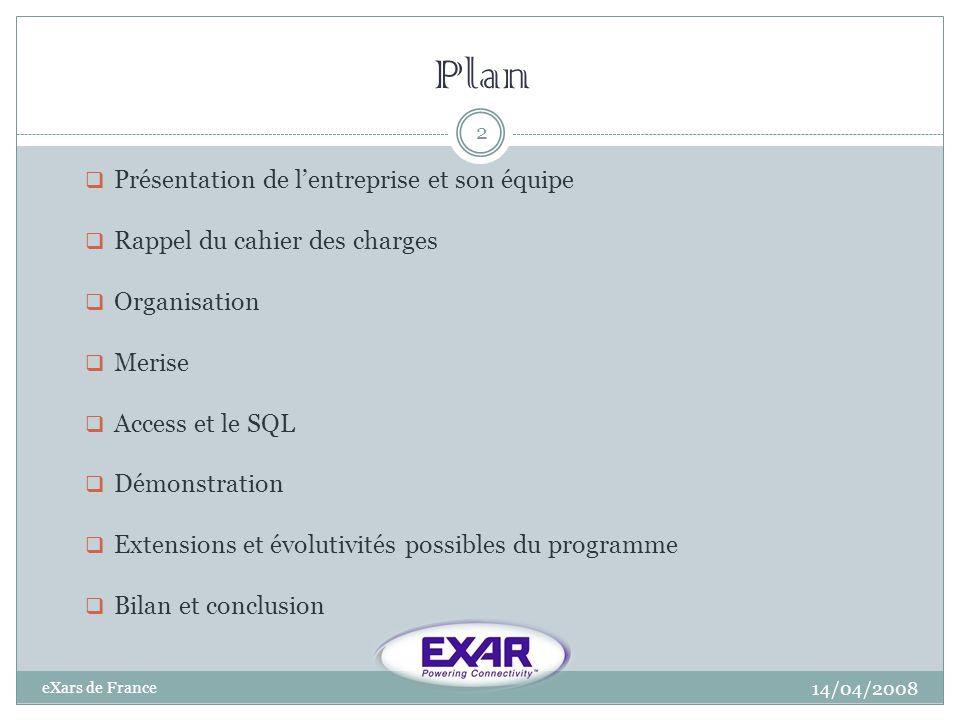Plan 14/04/2008 eXars de France 2 Présentation de lentreprise et son équipe Rappel du cahier des charges Organisation Merise Access et le SQL Démonstr