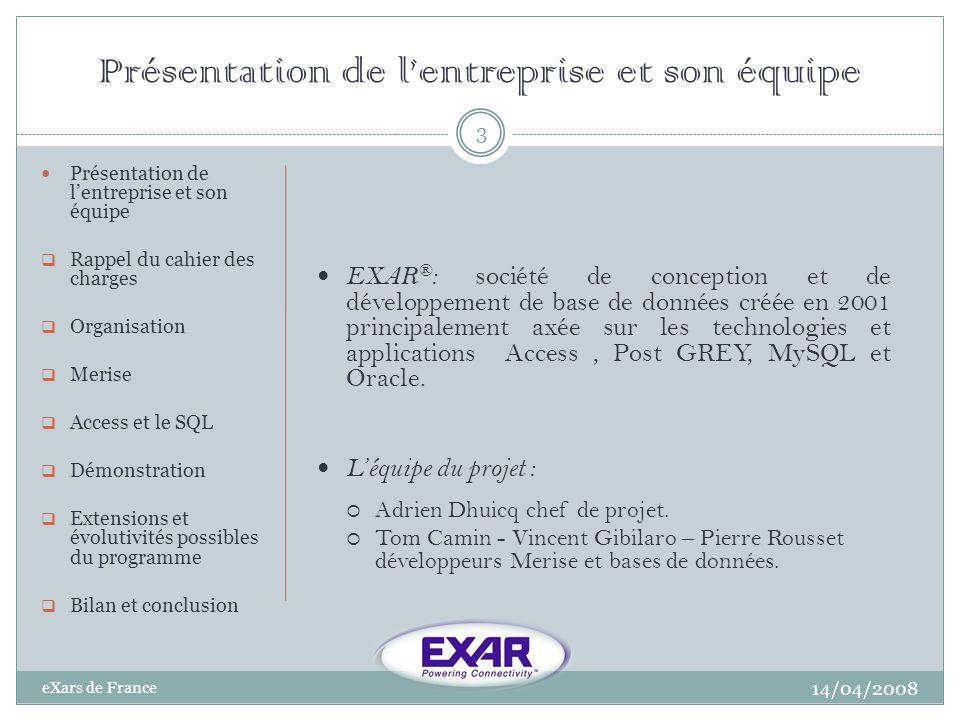 Présentation de lentreprise et son équipe 14/04/2008 eXars de France 3 Présentation de lentreprise et son équipe Rappel du cahier des charges Organisa