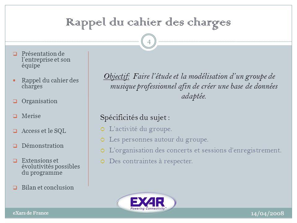 Rappel du cahier des charges 14/04/2008 eXars de France 4 Présentation de lentreprise et son équipe Rappel du cahier des charges Organisation Merise A